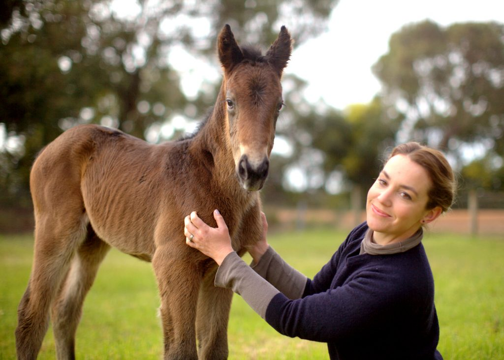 MUNGRUP GODSENDClaire Dawson with the filly by Playing GodPhoto / Ann Croucher
