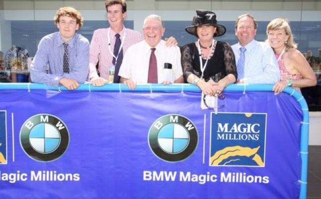 COLIN McALPINELegendary horseman and his family celebrate Spirit Of Boom's win in the 2012 Magic Millions Cup