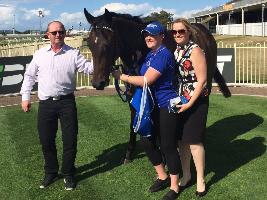 GENERAL WINDTrainer Toby Edmonds with the unbeaten son of All American at Doomben